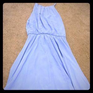 Silky blue short dress